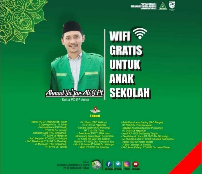 PC Ansor Tuban Siapkan WiFi Gratis untuk Anak Sekolah